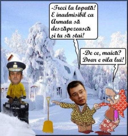 Mihai Razvan Ungureanu pune babele si mosii sa deszapezeasca
